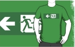 Accessible Exit Sign Project Wheelchair Wheelie Running Man Symbol Means of Egress Icon Disability Emergency Evacuation Fire Safety Adult T-shirt 426