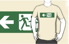 Accessible Exit Sign Project Wheelchair Wheelie Running Man Symbol Means of Egress Icon Disability Emergency Evacuation Fire Safety Adult T-shirt 427