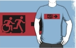 Accessible Exit Sign Project Wheelchair Wheelie Running Man Symbol Means of Egress Icon Disability Emergency Evacuation Fire Safety Adult T-shirt 428