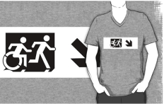 Accessible Exit Sign Project Wheelchair Wheelie Running Man Symbol Means of Egress Icon Disability Emergency Evacuation Fire Safety Adult T-shirt 43