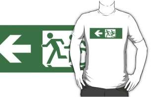 Accessible Exit Sign Project Wheelchair Wheelie Running Man Symbol Means of Egress Icon Disability Emergency Evacuation Fire Safety Adult T-shirt 430