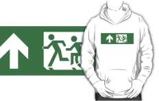 Accessible Exit Sign Project Wheelchair Wheelie Running Man Symbol Means of Egress Icon Disability Emergency Evacuation Fire Safety Adult T-shirt 431
