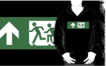 Accessible Exit Sign Project Wheelchair Wheelie Running Man Symbol Means of Egress Icon Disability Emergency Evacuation Fire Safety Adult T-shirt 433