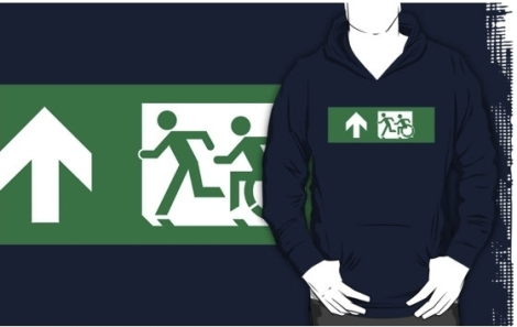 Accessible Exit Sign Project Wheelchair Wheelie Running Man Symbol Means of Egress Icon Disability Emergency Evacuation Fire Safety Adult T-shirt 434