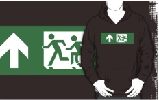 Accessible Exit Sign Project Wheelchair Wheelie Running Man Symbol Means of Egress Icon Disability Emergency Evacuation Fire Safety Adult T-shirt 435