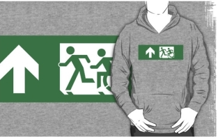 Accessible Exit Sign Project Wheelchair Wheelie Running Man Symbol Means of Egress Icon Disability Emergency Evacuation Fire Safety Adult T-shirt 436