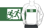 Accessible Exit Sign Project Wheelchair Wheelie Running Man Symbol Means of Egress Icon Disability Emergency Evacuation Fire Safety Adult T-shirt 437