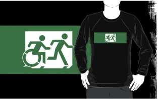 Accessible Exit Sign Project Wheelchair Wheelie Running Man Symbol Means of Egress Icon Disability Emergency Evacuation Fire Safety Adult T-shirt 438