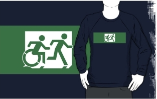Accessible Exit Sign Project Wheelchair Wheelie Running Man Symbol Means of Egress Icon Disability Emergency Evacuation Fire Safety Adult T-shirt 439