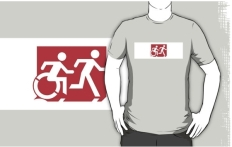 Accessible Exit Sign Project Wheelchair Wheelie Running Man Symbol Means of Egress Icon Disability Emergency Evacuation Fire Safety Adult T-shirt 441