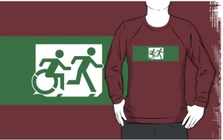 Accessible Exit Sign Project Wheelchair Wheelie Running Man Symbol Means of Egress Icon Disability Emergency Evacuation Fire Safety Adult T-shirt 442