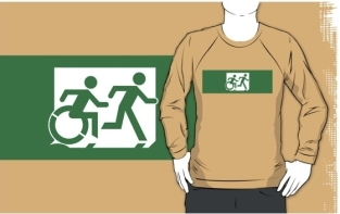 Accessible Exit Sign Project Wheelchair Wheelie Running Man Symbol Means of Egress Icon Disability Emergency Evacuation Fire Safety Adult T-shirt 443