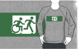 Accessible Exit Sign Project Wheelchair Wheelie Running Man Symbol Means of Egress Icon Disability Emergency Evacuation Fire Safety Adult T-shirt 444