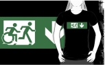 Accessible Exit Sign Project Wheelchair Wheelie Running Man Symbol Means of Egress Icon Disability Emergency Evacuation Fire Safety Adult T-shirt 445