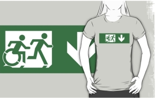 Accessible Exit Sign Project Wheelchair Wheelie Running Man Symbol Means of Egress Icon Disability Emergency Evacuation Fire Safety Adult T-shirt 446