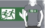 Accessible Exit Sign Project Wheelchair Wheelie Running Man Symbol Means of Egress Icon Disability Emergency Evacuation Fire Safety Adult T-shirt 447