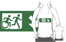Accessible Exit Sign Project Wheelchair Wheelie Running Man Symbol Means of Egress Icon Disability Emergency Evacuation Fire Safety Adult T-shirt 448