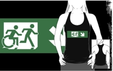 Accessible Exit Sign Project Wheelchair Wheelie Running Man Symbol Means of Egress Icon Disability Emergency Evacuation Fire Safety Adult T-shirt 449