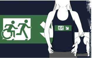 Accessible Exit Sign Project Wheelchair Wheelie Running Man Symbol Means of Egress Icon Disability Emergency Evacuation Fire Safety Adult T-shirt 450