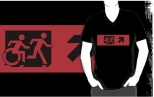 Accessible Exit Sign Project Wheelchair Wheelie Running Man Symbol Means of Egress Icon Disability Emergency Evacuation Fire Safety Adult T-shirt 452