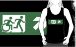Accessible Exit Sign Project Wheelchair Wheelie Running Man Symbol Means of Egress Icon Disability Emergency Evacuation Fire Safety Adult T-shirt 454