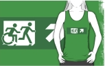 Accessible Exit Sign Project Wheelchair Wheelie Running Man Symbol Means of Egress Icon Disability Emergency Evacuation Fire Safety Adult T-shirt 457