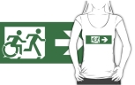 Accessible Exit Sign Project Wheelchair Wheelie Running Man Symbol Means of Egress Icon Disability Emergency Evacuation Fire Safety Adult T-shirt 458