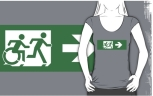 Accessible Exit Sign Project Wheelchair Wheelie Running Man Symbol Means of Egress Icon Disability Emergency Evacuation Fire Safety Adult T-shirt 459