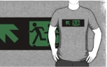Accessible Exit Sign Project Wheelchair Wheelie Running Man Symbol Means of Egress Icon Disability Emergency Evacuation Fire Safety Adult T-shirt 46