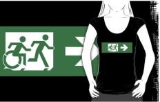 Accessible Exit Sign Project Wheelchair Wheelie Running Man Symbol Means of Egress Icon Disability Emergency Evacuation Fire Safety Adult T-shirt 460