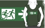 Accessible Exit Sign Project Wheelchair Wheelie Running Man Symbol Means of Egress Icon Disability Emergency Evacuation Fire Safety Adult T-shirt 461