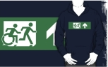 Accessible Exit Sign Project Wheelchair Wheelie Running Man Symbol Means of Egress Icon Disability Emergency Evacuation Fire Safety Adult T-shirt 462
