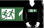 Accessible Exit Sign Project Wheelchair Wheelie Running Man Symbol Means of Egress Icon Disability Emergency Evacuation Fire Safety Adult T-shirt 463