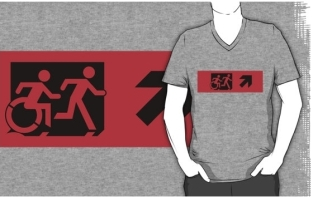 Accessible Exit Sign Project Wheelchair Wheelie Running Man Symbol Means of Egress Icon Disability Emergency Evacuation Fire Safety Adult T-shirt 464