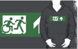 Accessible Exit Sign Project Wheelchair Wheelie Running Man Symbol Means of Egress Icon Disability Emergency Evacuation Fire Safety Adult T-shirt 466