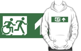 Accessible Exit Sign Project Wheelchair Wheelie Running Man Symbol Means of Egress Icon Disability Emergency Evacuation Fire Safety Adult T-shirt 467