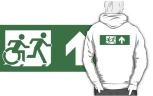 Accessible Exit Sign Project Wheelchair Wheelie Running Man Symbol Means of Egress Icon Disability Emergency Evacuation Fire Safety Adult T-shirt 468
