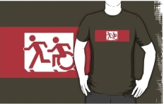 Accessible Exit Sign Project Wheelchair Wheelie Running Man Symbol Means of Egress Icon Disability Emergency Evacuation Fire Safety Adult T-shirt 469