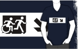 Accessible Exit Sign Project Wheelchair Wheelie Running Man Symbol Means of Egress Icon Disability Emergency Evacuation Fire Safety Adult T-shirt 47