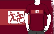 Accessible Exit Sign Project Wheelchair Wheelie Running Man Symbol Means of Egress Icon Disability Emergency Evacuation Fire Safety Adult T-shirt 470