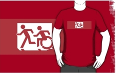 Accessible Exit Sign Project Wheelchair Wheelie Running Man Symbol Means of Egress Icon Disability Emergency Evacuation Fire Safety Adult T-shirt 471