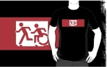 Accessible Exit Sign Project Wheelchair Wheelie Running Man Symbol Means of Egress Icon Disability Emergency Evacuation Fire Safety Adult T-shirt 472