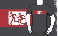 Accessible Exit Sign Project Wheelchair Wheelie Running Man Symbol Means of Egress Icon Disability Emergency Evacuation Fire Safety Adult T-shirt 473