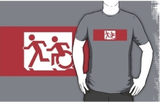 Accessible Exit Sign Project Wheelchair Wheelie Running Man Symbol Means of Egress Icon Disability Emergency Evacuation Fire Safety Adult T-shirt 474