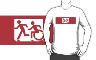 Accessible Exit Sign Project Wheelchair Wheelie Running Man Symbol Means of Egress Icon Disability Emergency Evacuation Fire Safety Adult T-shirt 475