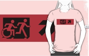 Accessible Exit Sign Project Wheelchair Wheelie Running Man Symbol Means of Egress Icon Disability Emergency Evacuation Fire Safety Adult T-shirt 476