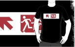 Accessible Exit Sign Project Wheelchair Wheelie Running Man Symbol Means of Egress Icon Disability Emergency Evacuation Fire Safety Adult T-shirt 477