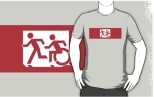 Accessible Exit Sign Project Wheelchair Wheelie Running Man Symbol Means of Egress Icon Disability Emergency Evacuation Fire Safety Adult T-shirt 478