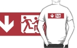 Accessible Exit Sign Project Wheelchair Wheelie Running Man Symbol Means of Egress Icon Disability Emergency Evacuation Fire Safety Adult T-shirt 479