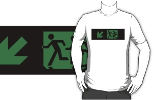 Accessible Exit Sign Project Wheelchair Wheelie Running Man Symbol Means of Egress Icon Disability Emergency Evacuation Fire Safety Adult T-shirt 48